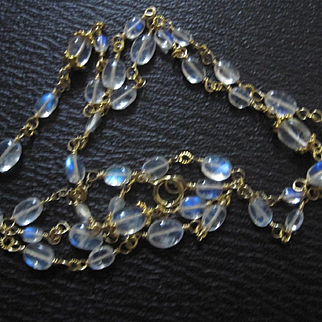 """18K Solid Gold~ AAA Ceylon Moonstone """"Ethereal"""" Necklace 30""""  Brand new 2016"""