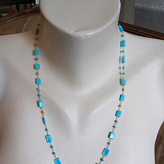 18K Solid Gold~ AAA Finest Sleeping Beauty Turquoise (untreated) and Gold Bead Necklace~ 32""