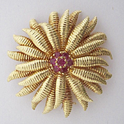 Authentic Tiffany and Co.~18K gold and Ruby Sunburst Brooch/Pendant~Retired design that is hard to find