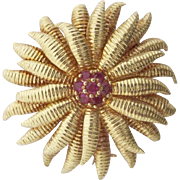 Authentic Tiffany and Co.~18K gold and Ruby Sunburst Brooch/Pendant~Retired design that is hard to find - Red Tag Sale Item