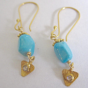 18K AAA Sleeping Beauty Turquoise & Diamond Earrings~ simply lovely