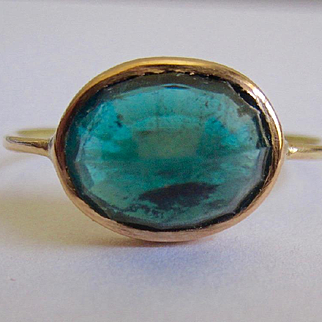 18K Solid Gold~ Gorgeous 6ct Blue Tourmaline (Indicolite) stack ring size 6.5 ONLY ONE!