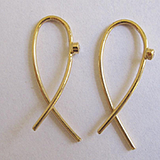"18K Solid Gold~ New rose cut Diamond ""Ribbon"" Earrings ~simply beautiful"
