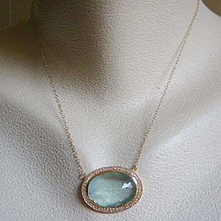 14K Solid Gold~ 17ct Aquamarine & Diamond Halo Pendant Necklace~ One of a Kind