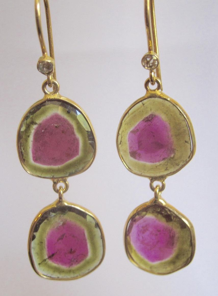 "18K Solid Gold~ STUNNING AAA Watermelon Tourmaline & Diamond ""Double Drop"" Earrings~ Only ONE!!"