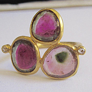 "18K Solid Gold~ STUNNING AAA Watermelon Tourmaline & Diamond ""Triple Delight"" Ring~ Only ONE!!"