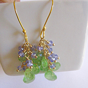 "18K Solid Gold~ AA Tsavorite & Tanzanite ""cluster"" Earrings~ LTD Edition"