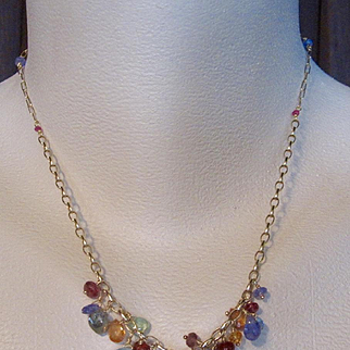 """14k & 18K Solid Gold~ Multi-Gem Layering necklace, 17"""" in length~ one of a kind"""