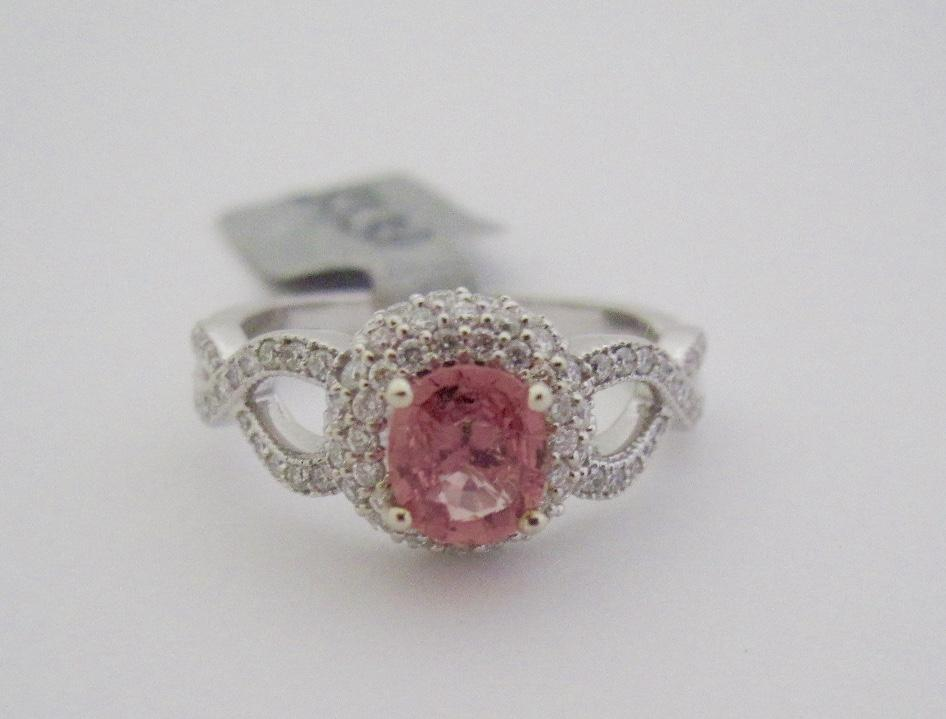 14K White Gold~Natural, genuine Padparadscha Sapphire & Diamond Ring~ one of a kind, size 7