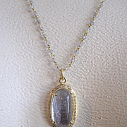 "18K Solid Gold~ Lilac Spinel & Diamond Halo Pendant w/ Long 36"" 18K grey/lilac Sapphire wrap-around chain...one of a kind!"