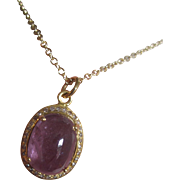 18K Solid Gold~ 7 ct. AAA Purple Spinel with diamond halo Necklace~ one of a kind