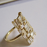 "18K Solid Gold~1.95 ct. VS1 Color F Baguette Diamond  ""Labyrinth"" Ring~ Only one!"