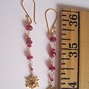 "18K Solid Gold~AAA Red Spinel & Diamond ""Star Gazer"" Earrings~ only one pair"