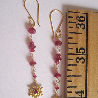 """18K Solid Gold~AAA Red Spinel & Diamond """"Star Gazer"""" Earrings~ only one pair"""