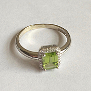 14K Solid White Gold~ Peridot & Diamond Halo ring only one available