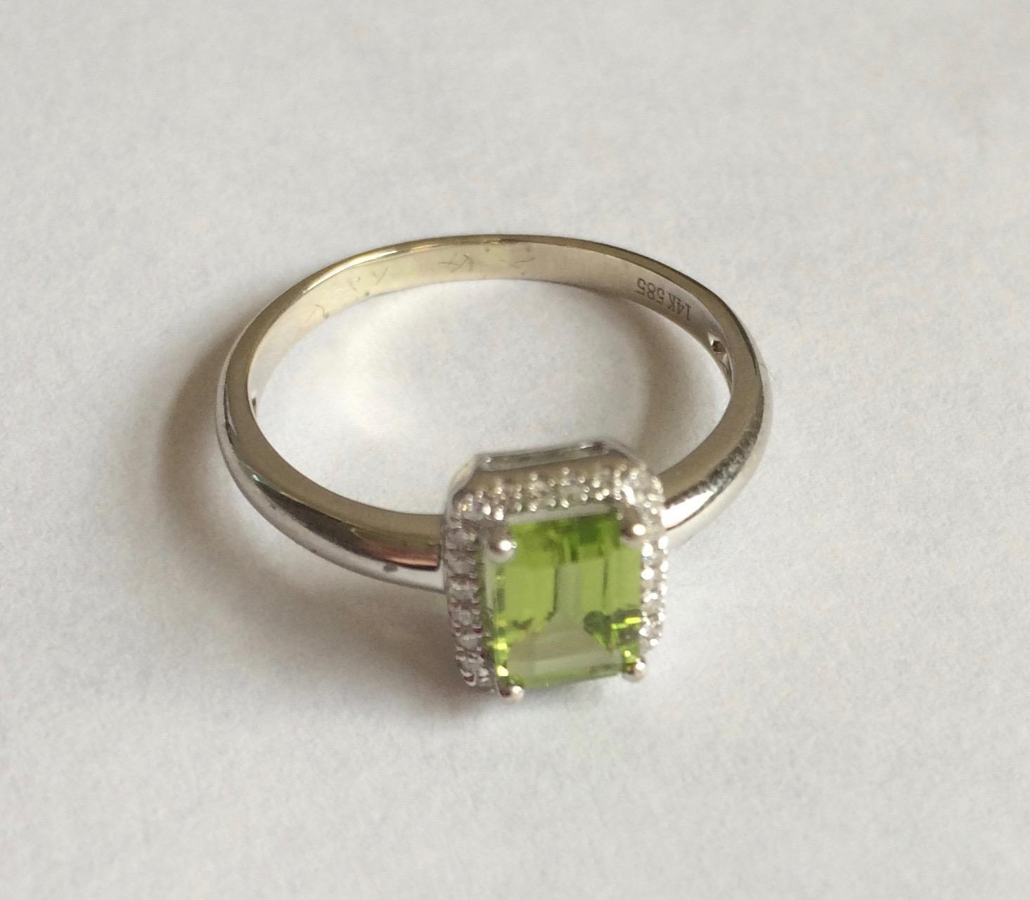 14k solid white gold peridot halo ring only one