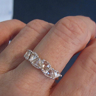 "18K Solid Gold Rose cut 1.25 ct. Diamond trillion cut ""lumina"" ring~"