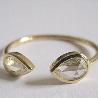 """18K solid gold rose cut Diamond """"leaf"""" ring VS2 G~ Handmade & One of a Kind"""