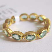 "Colombian Emerald Eternity Ring in 18K Solid Gold, 2.1 cts ""crown"" ring ~One of A Kind!!!"