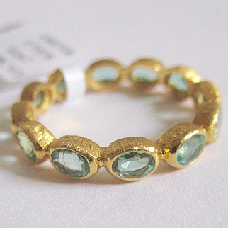 """Colombian Emerald Eternity Ring in 18K Solid Gold, 2.1 cts """"crown"""" ring ~One of A Kind!!!"""