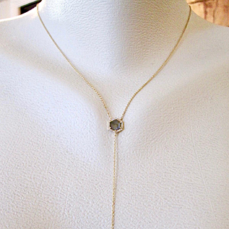 "14K Solid Gold Labradorite ""y"" necklace with diamond halo and diamond drop~ new! 2017"