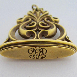 14k Solid Yellow Gold Fob Pendant~~Vintage from the 1930s in Great Condition