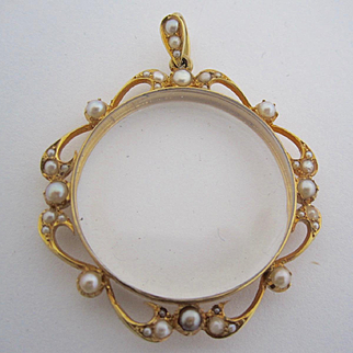 ~~*14k Solid Yellow Gold Magnifying Glass pendant with Pearl Accents*~~