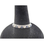14K Solid White Gold Diamond and Blue Sapphire Ring