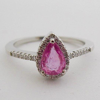 14K Solid White Gold Ring w/ teardrop Pink Tourmaline and Diamond Halo