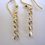 "18K Solid Gold~ Diamond slice, ""linear"" earrings~.50 CTS SI1"