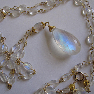 18K Solid Gold~  AAA Ceylon Moonstone big drop Necklace 24""