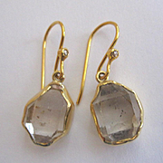 Brand New 18K Herkimer Diamond Earrings, bezel set in 18K solid gold~ 2017 collection