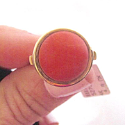 14K Solid Gold~ 1950's Sardinian Coral Ring~ size 7.5
