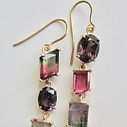 "14K Solid Gold~ Tourmaline ""juxtaposition"" earrings in all the Shades of Tourmaline   One of a kind"