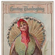 E Nash Thanksgiving Postcard Turkey with Face of Child