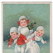 Christmas Postcard of Three Children Ice Skating