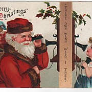 Signed Clapsaddle Christmas Santa on Phone with a Child Postcard