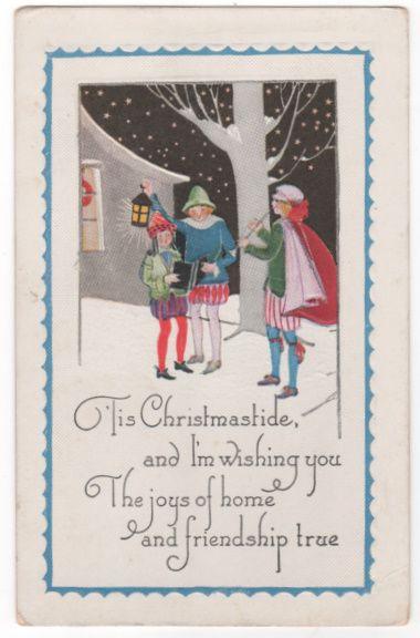 Christmas Carolers in Snowy Winter Scene at Night Postcard