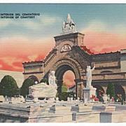 Interior of Cemetery Havana Cuba Postcard