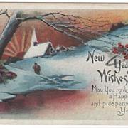 Snowy Sunset Church Scene New Year's Postcard