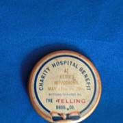 Charity Hospital Benefit at Keith's Hippodrome Vintage Pinback Button