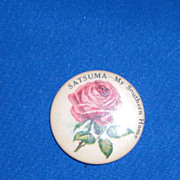 Satsuma My Southern Home Pink Rose with Greenery Vintage Pinback Button