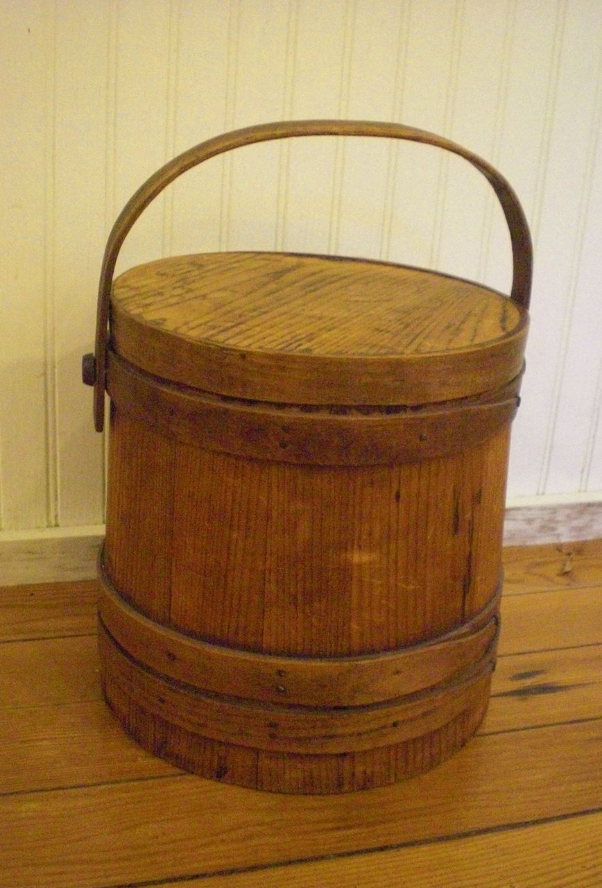 Small Pine Wooden Bucket With Oak Straps Red Tag Sale