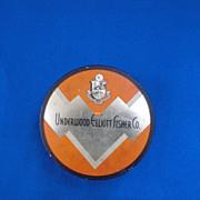 Underwood Elliott Fisher Co Orange and SilverTypewriter Ribbon Tin