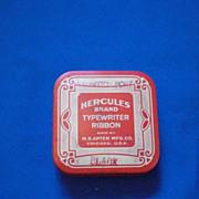 Hercules Red and White M S Apter Mfg Co Chicago Typewriter Ribbon Tin