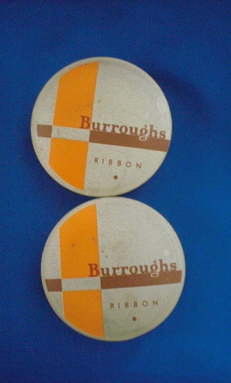 Burroughs Orange and Gray Typewriter Ribbon Tins