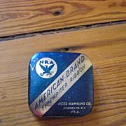 NRA American Brand Hess-Hawkins Co NY Dark Blue and Silver Typewriter Ribbon Tin