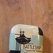 Battleship F S Webster Co Boston MA Massachusetts Typewriter Ribbon Tin