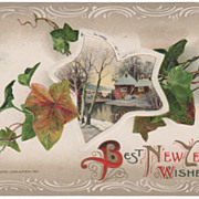 Winsch New Year Postcard Ivy with a Winter Scene 1911