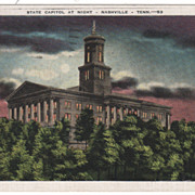State Capitol at Night Nashville TN Tennessee - Postmarked Jackson, TN